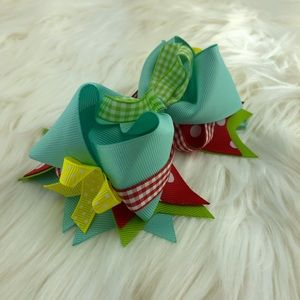 Accessories - Head bow ribbons blue green, yellow, red